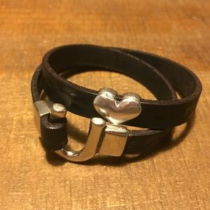 ♥️Silver/leather double wrap bracelet HOLD